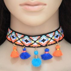 C0150742198 Tassel Dangling Bohemian Arabian Choker Necklace