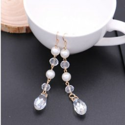 A-SQM-063crystals White Bead Crystal Dangling Hook Earrings Shop