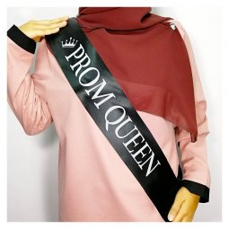 A-HP-promqueen Black Prom Queen Gray Wording Part Sashes