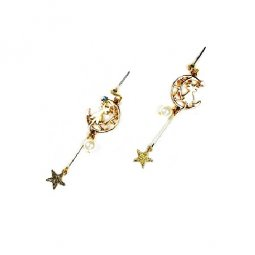 A-AES-5206-gold cat star moon pearl earrings