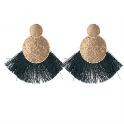 P132604 Green Tassel Gold Round Elegant Stud Earrings Shop