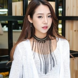 A-GH-N3616 Gold black dangling chain choker statement necklace