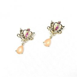 A-AES-6542-Gold Pink Wings Diamond Earrings