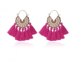 A-hh-HQEF-413-2 purple gold Tassel Vogue Hoop Earring
