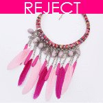 RD0150 - Reject Design - Feather pink dangling necklace