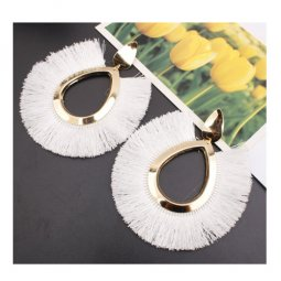 A-SD-EH077(white) Large Tassel Golden Oval Shaped White Earstuds