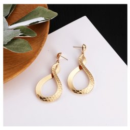 A-LG-ER0659f Korean Style Dangling Golden Infinite Sign Earstuds