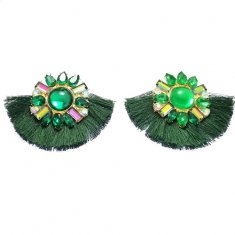A-SP-EH004-3 Green Classic Diamond Statement Earstuds