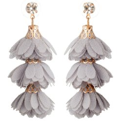 A-KJ-E020527grey Trendy Grey Tangling Flowers Earstuds Wholesale