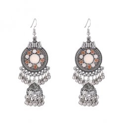 P134386 Beige Artsy Carved Silver Dome & Beads Hook Earrings