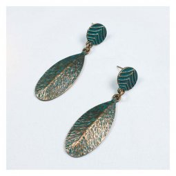 A-HH-HQER-225 Leaf Inspired Earrings of Turquoise Copper Materia