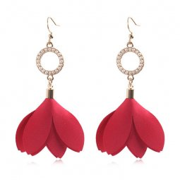 A-HH-HQEF1051magenta Magenta Tulip Petals Circle Pearls Earrings