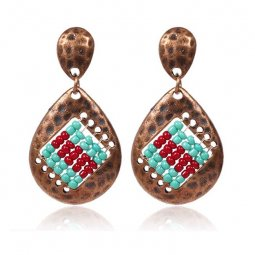 A-HH-HQEF1428blue Classic Copper Blue Red Beads Earstuds