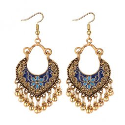 A-MD-E1296(navyblue) Antique Golden Carving & Bells In Blue