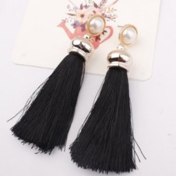 A-SD-EH017Bl Black Tassel White Bead Long Tassels Earstuds Shop