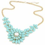 C10124127 Blue beads flowery korean choker necklace accessories
