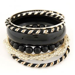 C09051811 Black Beads Gold Elegant Banglet Set Accessories