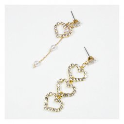 a-QK-0729 Unpaired Love Crystal Themed Dangling Pearls Earstuds