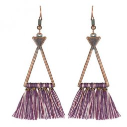 A-KJ-E020418 Purple White Geometry Vintage Tassel Earrings