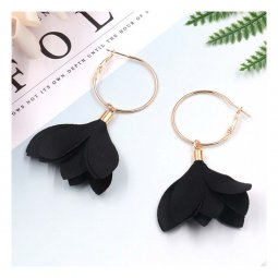A-HH-HQEF1384black Black Tulip Flower Hoop Earrings Korean Style