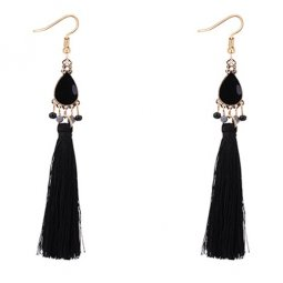 P127539 Black Oval Wholesale Black Tassel Earrings Malaysia