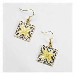 A-TT-492 Square Korean Ceramic Style Pattern Hook Earrings