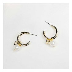 A-JX-E1248 Modern Mini Golden Hoop Square Gate Pearl Earrings