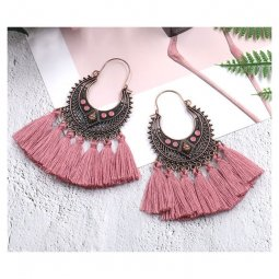 A-HH-HQEF1383dusty Dusty Pink Tassel Artsy Copper Earrings