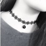 C110604267 Lace flowery tattoo choker necklace with black bead