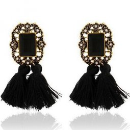 A-SD-XL0790 Black Tassel Vintage Rectangle Inspired Earstuds