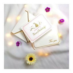 A-LH-HBD Pink Gold & White Happy Birthday Celebration Cards