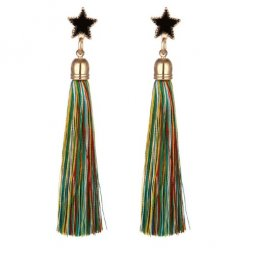 C11055631 Star Charm Colourful Dangling Tassel Earstuds
