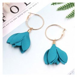 A-HH-HQEF1384tur Turquoise Tulip Flower Hook Earrings Korean Sty