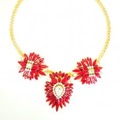 a-un-002 Hot Red Gems With Crystals Gold Statement Necklaces