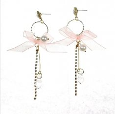A-TT-461PINK Gold Pink Ribbon Korean Earrings Malaysia