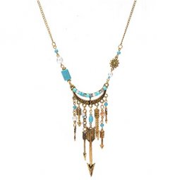 A-Q-9466 Vintage Arrow Charms Turquoise Beads Choker Necklace