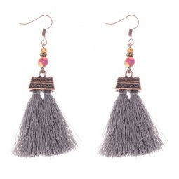 A-DW-HQE834-1 Grey Tassels Vintage Mini Box Colorful Beads Hook
