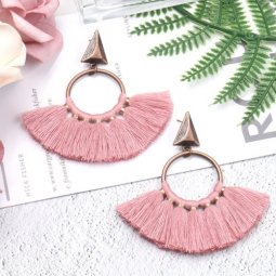 A-HH-HQEF1218dp Dusty Purple Vintage Triangle Tassel Earstuds