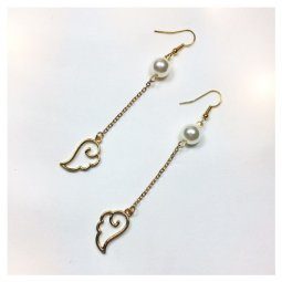 A-LG-R0562(wing) Dangling Large Pearls & Wings Korean Style Hook
