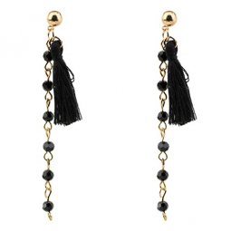 P128072 Black Crystal Bead Dangling Tassel Earstuds Wholesale