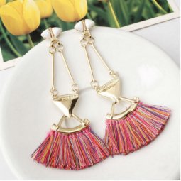 A-SD-EH0149colourful Mix Colour Tassel Gold Triangle Earstuds