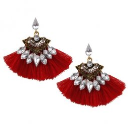 A-SD-XL0798red Red Vintage Red Crystals Korean Tassel Earstuds