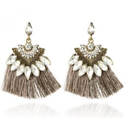 A-YG-5250Grey Grey Shiny Crystals Tassel Earstuds Wholesale