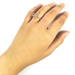A-TT-F118 Rosegold Three Petals Lily Flower Rings Couple Gift