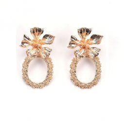 A-QF-30N0602 Gold Petal Ore Korean Earrings Alisha Malaysia