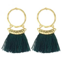 P133004 Green Tassel Golden Ring Earstuds Wholesale