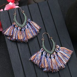 A-HH-HQEF1068mix4 Brown Blue Mix Tassel Oval Curve Hook Earrings