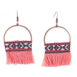A-KJ-E020952pink Pink Bohemian Moon Vintage Tassel Earrings