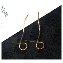 A-LG-ER0535(gold) Gold Curve Line Korean Style Earstuds