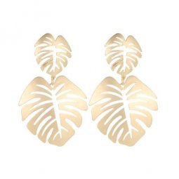 A-JW-11298 Simple Golden Summer Leaves Trendy Fashion Earstuds